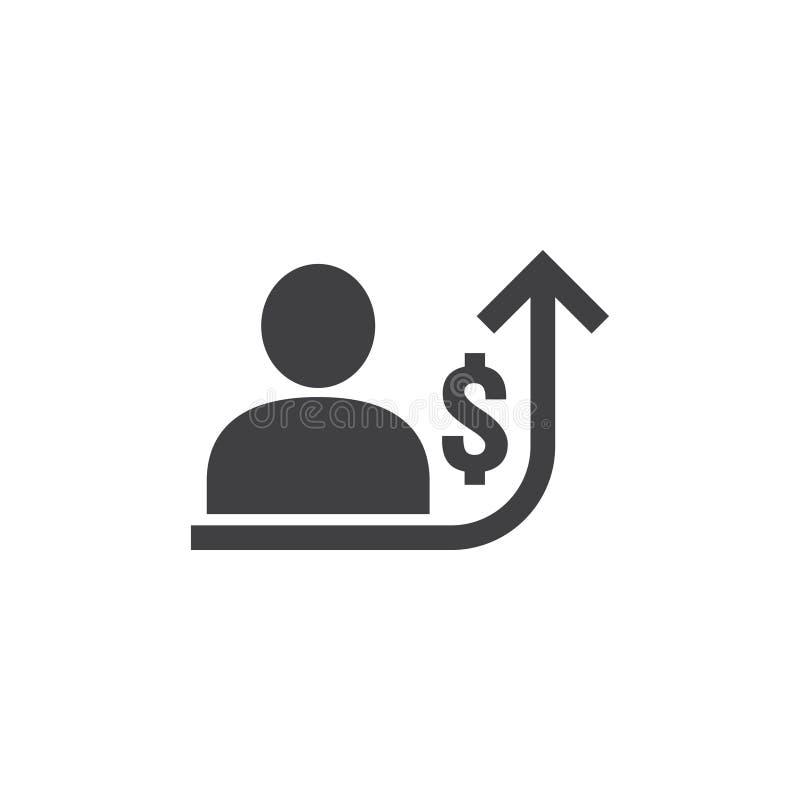 雇员在白色背景的增加工资图表的象与人,箭头和美元金钱标志 培养收支事务 库存例证
