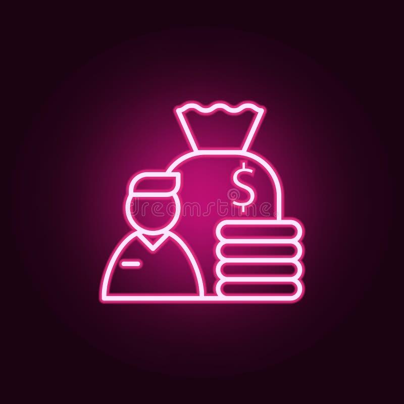 雇员收入象 采访的元素在霓虹样式象的 网站的简单的象,网络设计,流动应用程序,信息图表 库存例证