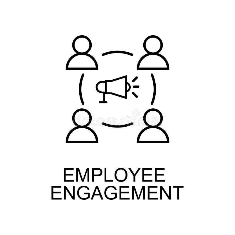 雇员订婚线象 人力资源象的元素流动概念和网apps的 稀薄的线雇员订婚象 向量例证