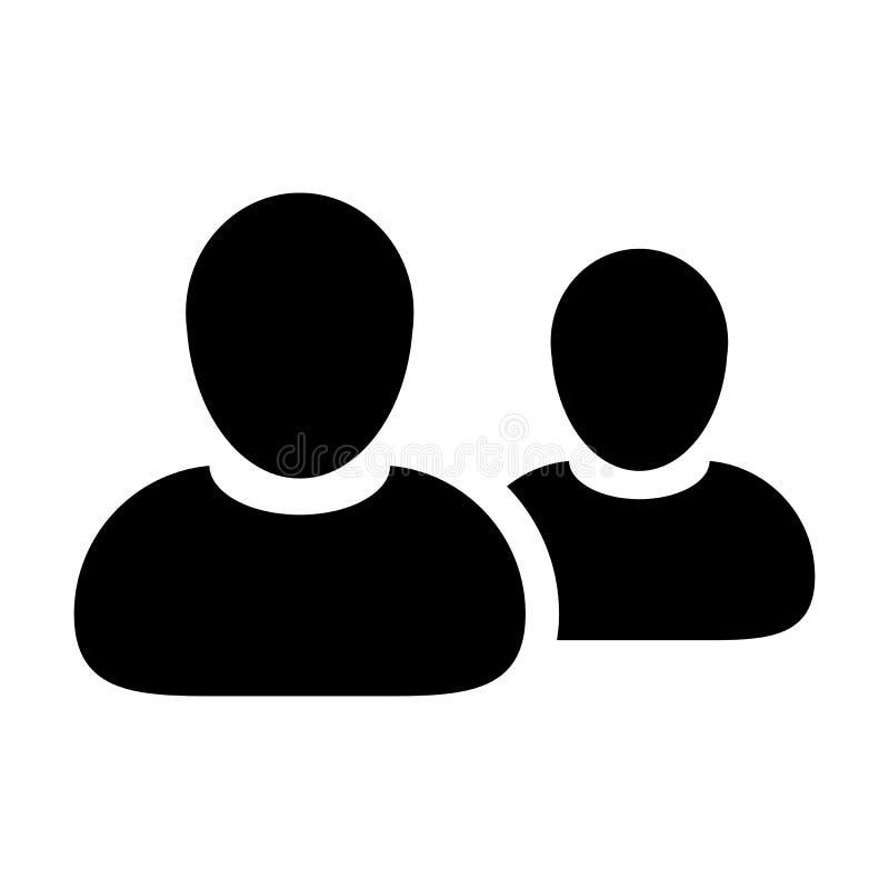 雇员象传染媒介男性小组人业务管理队的标志具体化在平的颜色纵的沟纹图表 库存例证