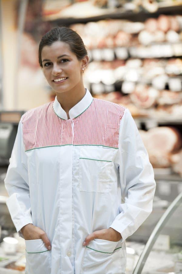 雇员超级市场年轻人 免版税库存图片