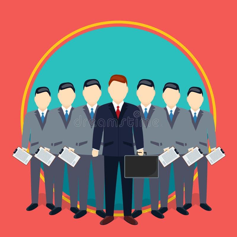 雇员配合概念成功的商人和队  企业咖啡夫人人扩音机小组 向量例证