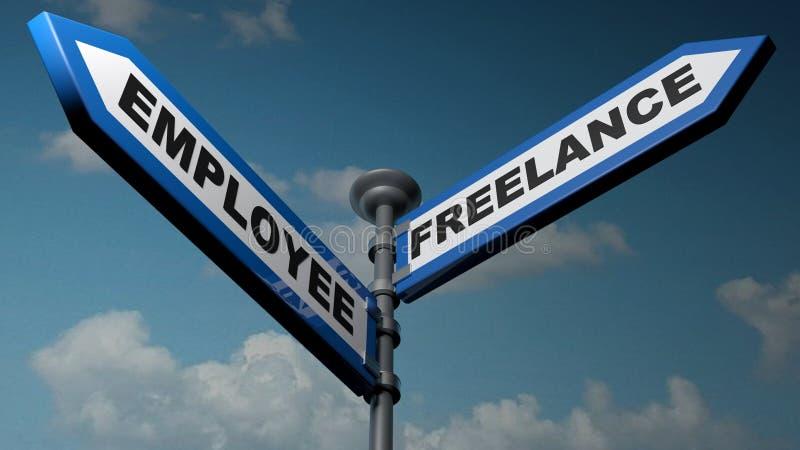 雇员-自由职业者的蓝色箭头路牌- 3D翻译例证 皇族释放例证