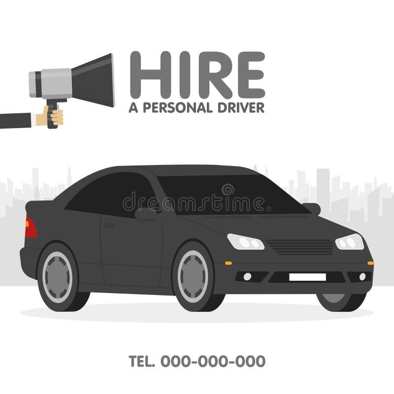 雇用一位个人司机广告模板传染媒介以图例解释者 皇族释放例证