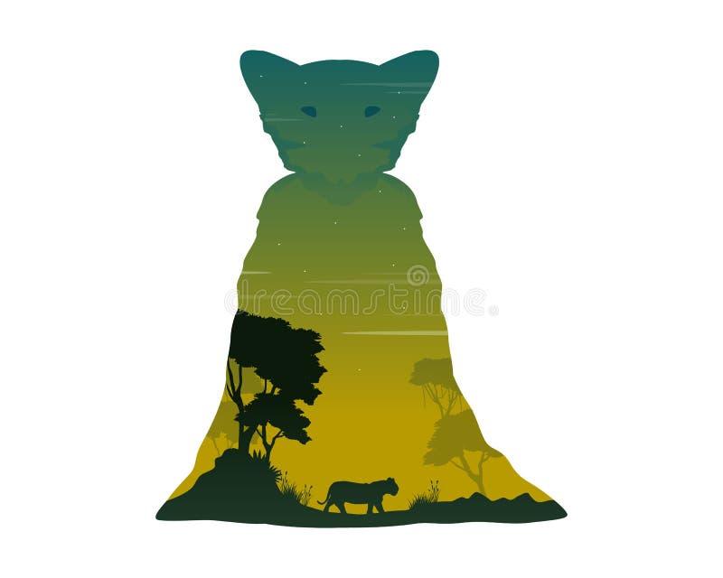 雌狮剪影在小山风景的 库存例证