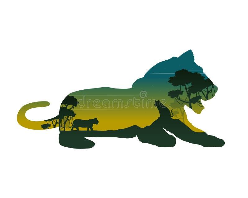 雌狮剪影在小山风景的 向量例证