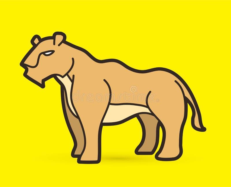 雌狮动画片图表传染媒介 库存例证