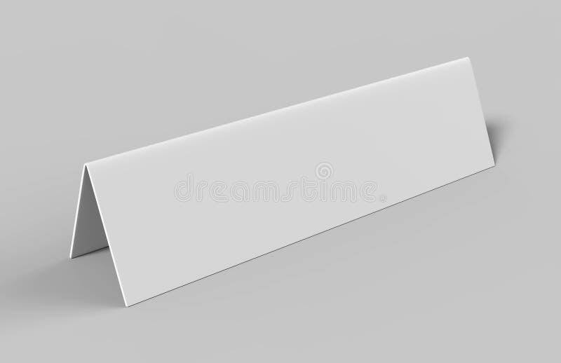 雏型模转台设计介绍的帐篷卡片或嘲笑设计 空白的白色3d回报例证 皇族释放例证