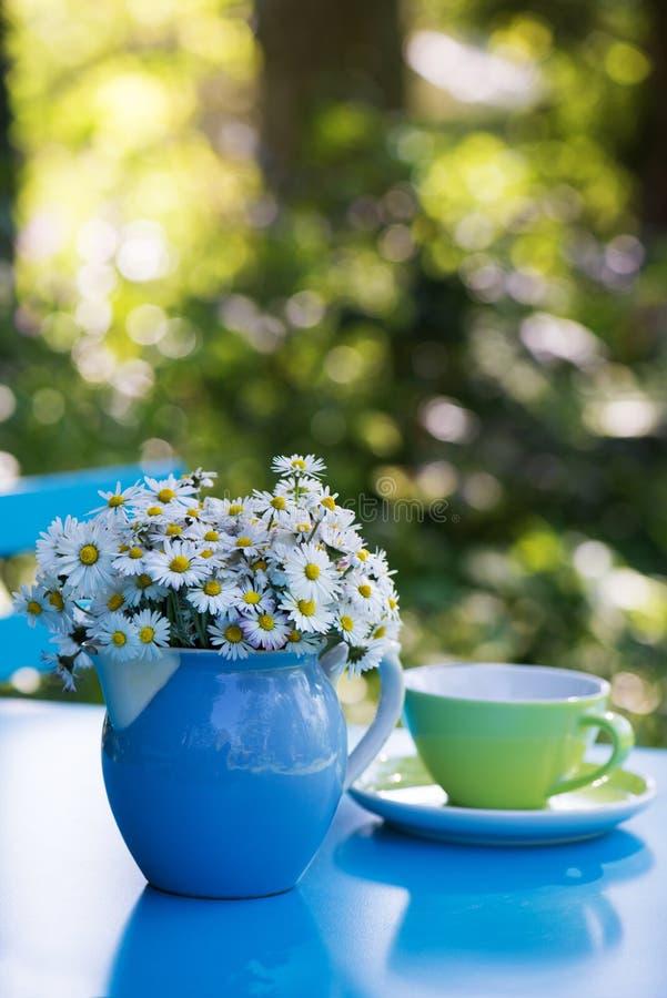 雏菊在牛奶搅动的花花束 免版税图库摄影