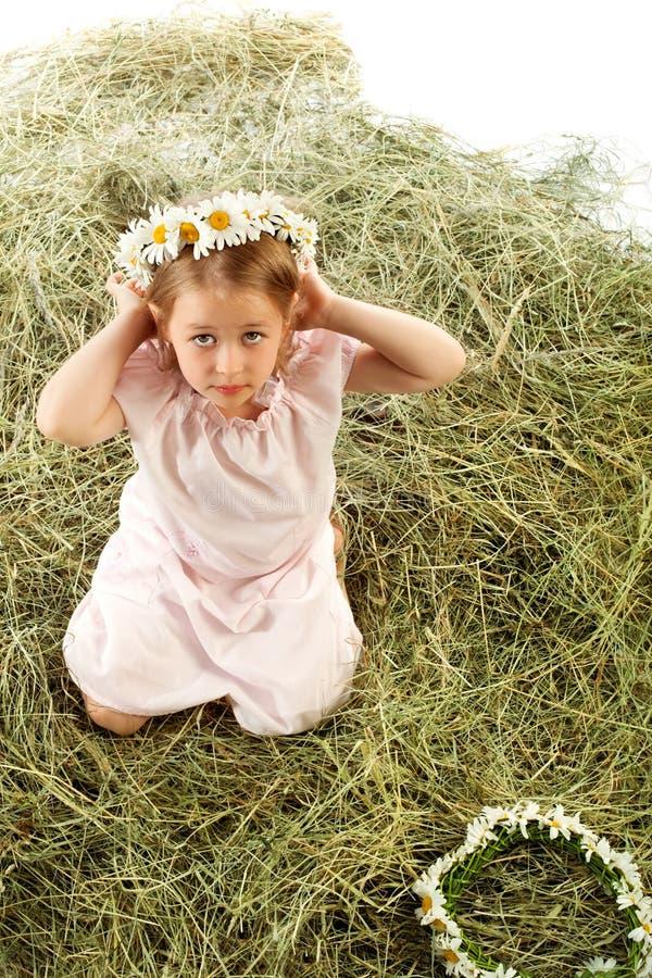雏菊花圈在她的头的女孩 免版税图库摄影