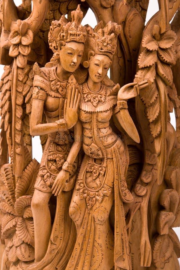 雕刻他的rama sita妻子木头 库存图片