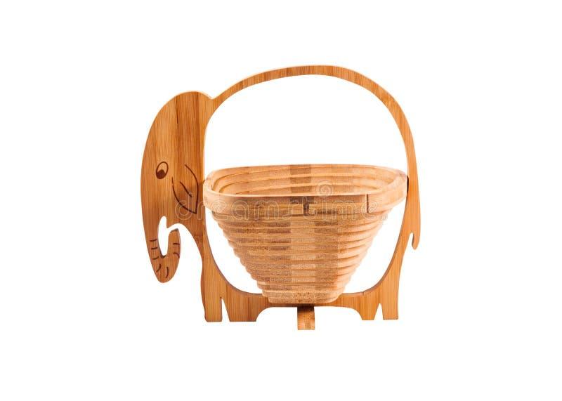 雕刻作为大象的空的篮子木头 免版税图库摄影