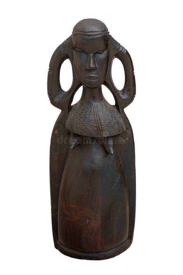 雕刻前面查出的肯尼亚turkana妇女木头 免版税库存图片