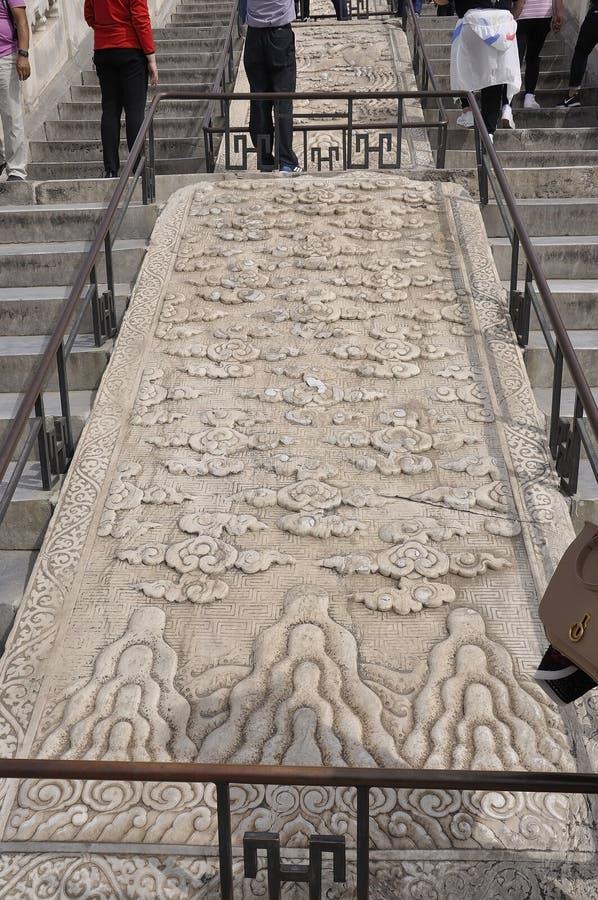 雕刻在大理石的装饰品从祷告的霍尔台阶用好收获的从天坛在北京 免版税图库摄影