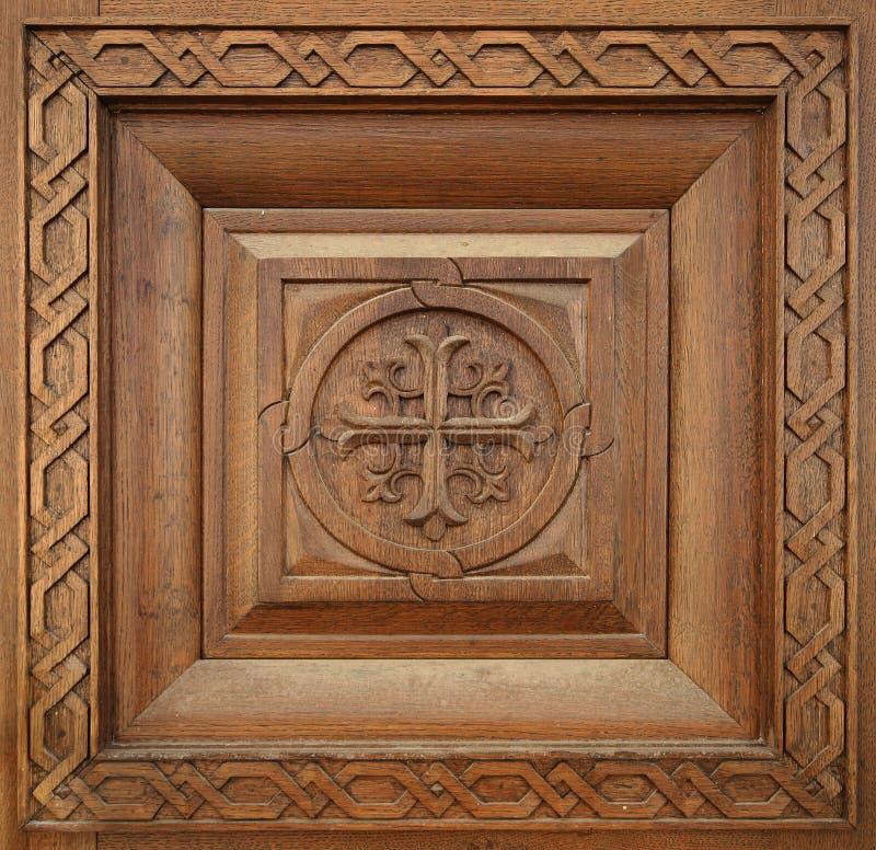 雕刻木无缝的纹理 库存照片
