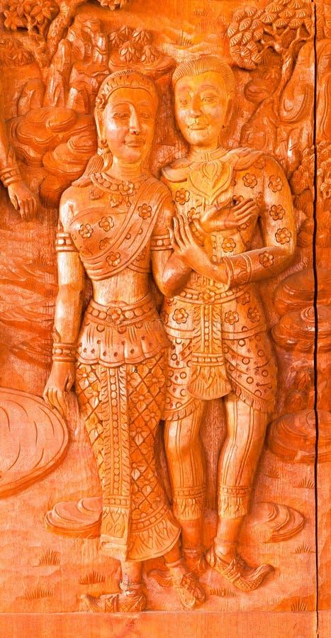 雕刻样式泰国传统木头 库存照片