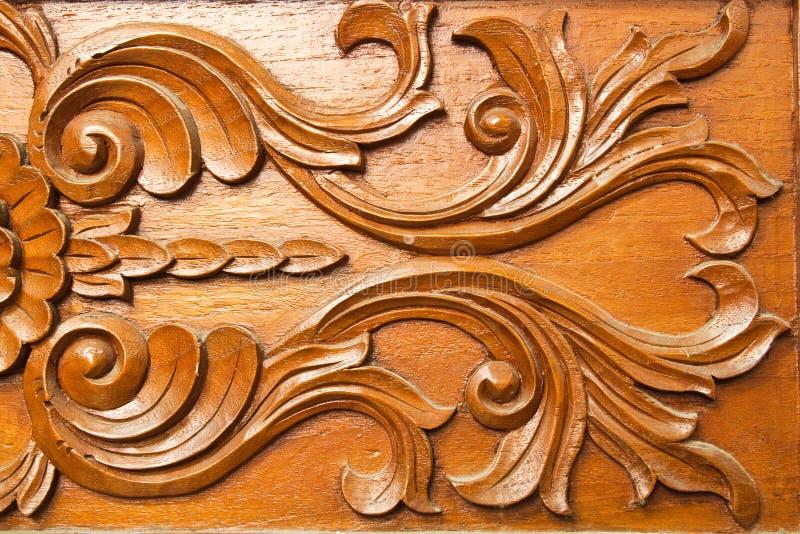 雕刻样式泰国木头 库存照片