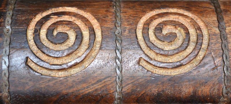 雕刻漩涡木头 免版税库存照片