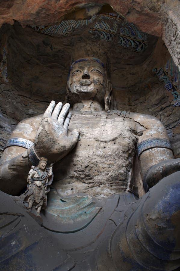 雕刻瓷洞穴山西石yungang 库存照片