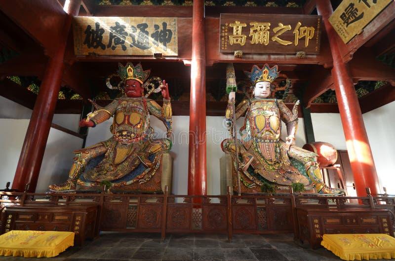 雕刻的图位于灵隐寺入口  免版税库存图片