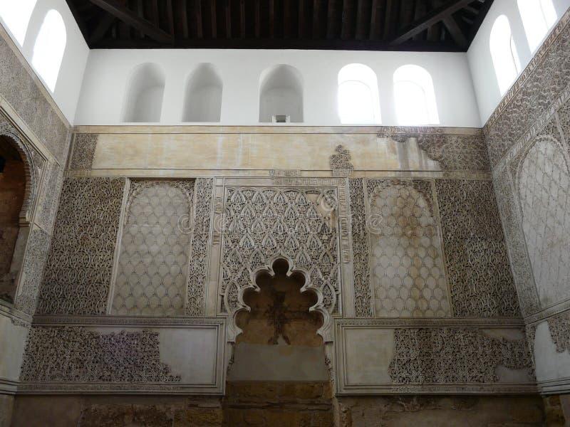 雕刻科多巴老温泉犹太教堂墙壁 库存图片