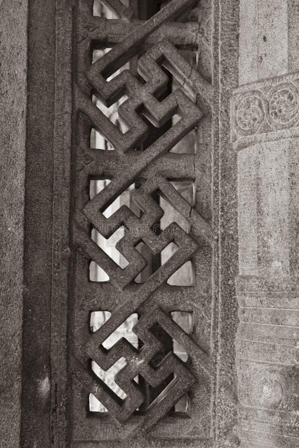 雕刻窗口-坦贾武尔大寺庙的岩石 免版税库存照片