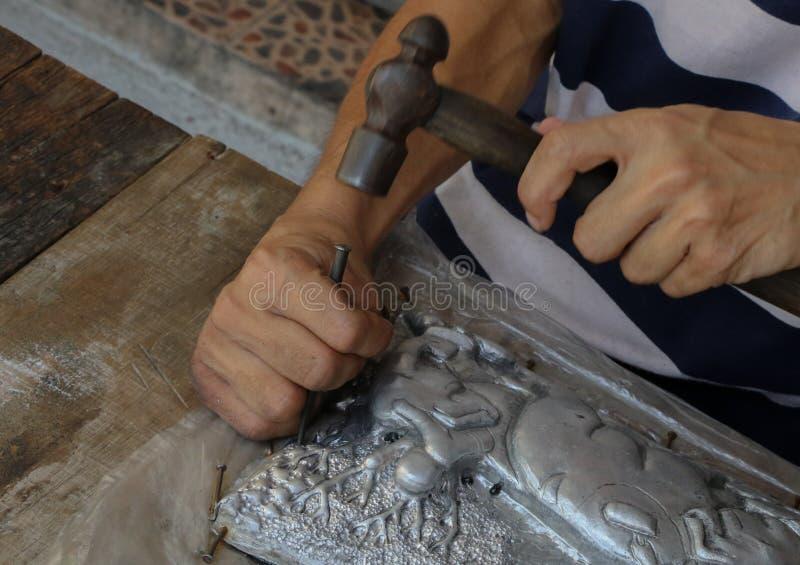 雕刻银器,清迈,泰国 库存图片