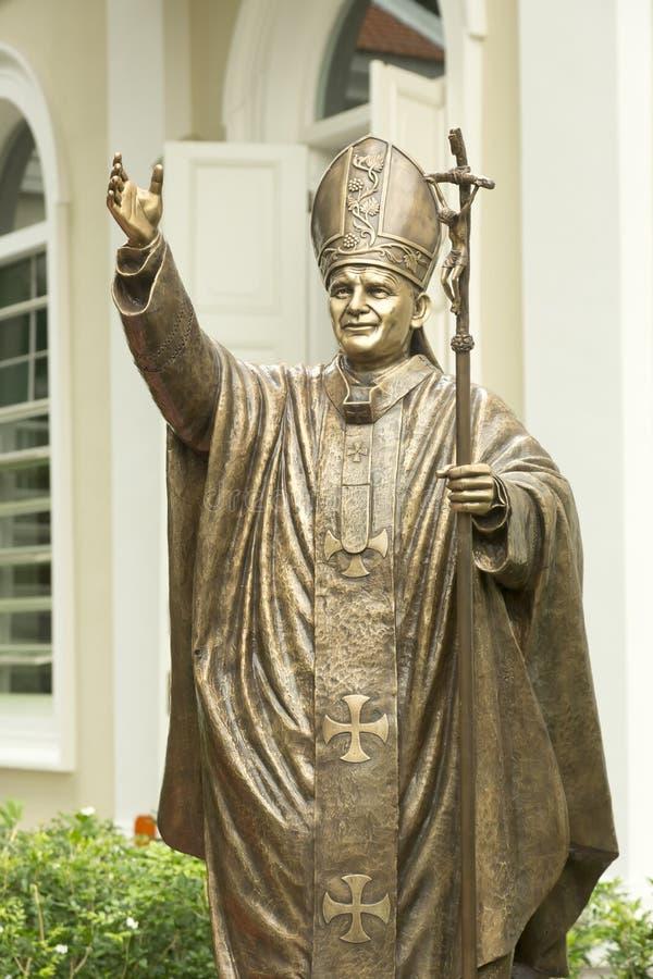 雕塑哦教宗若望保禄二世在新加坡 库存图片