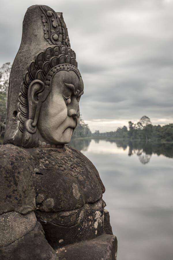 雕塑在吴哥窟 免版税库存图片