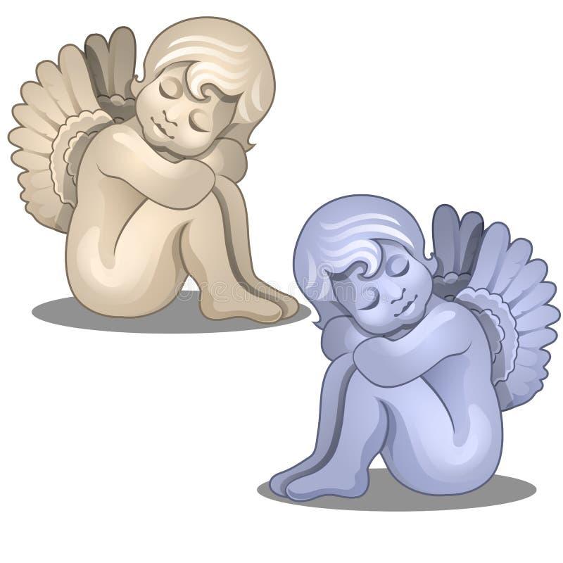 雕塑平静天使的婴孩 在白色背景隔绝的小雕象装饰 向量 皇族释放例证