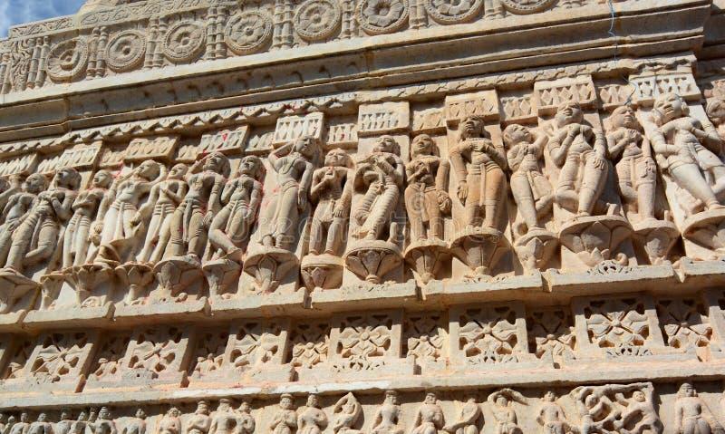雕塑的细节 Jagdish寺庙 乌代浦 拉贾斯坦 印度 免版税图库摄影