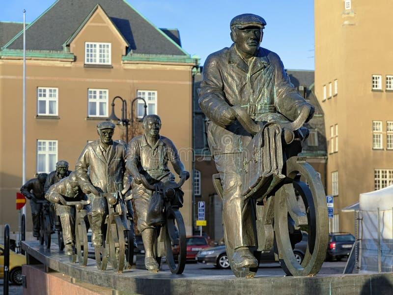 雕塑组ASEA-strommen在Vasteras,瑞典 库存图片