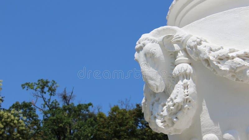 雕塑绵羊头有蓝天背景 免版税库存照片
