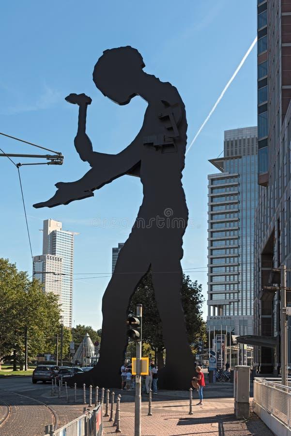 雕塑,锤击人,由borofsky的乔纳森, nea设计了 免版税库存图片