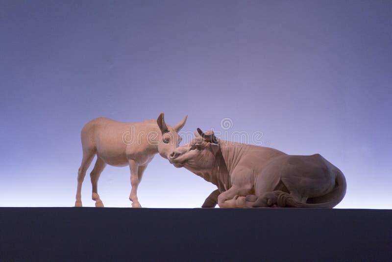 雕塑,雕刻, sculp,大理石,动物,雕象,图象,母牛,牛科动物,黄牛,公牛,驴,骡子 免版税库存图片