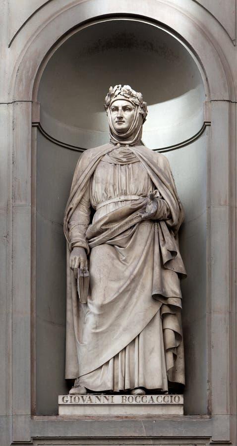 雕象乔万尼・薄伽丘,乌菲齐,佛罗伦萨,意大利 库存照片