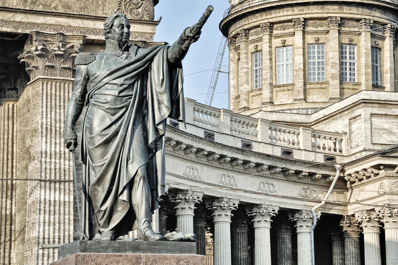 雕象和喀山大教堂,圣彼得堡 免版税图库摄影