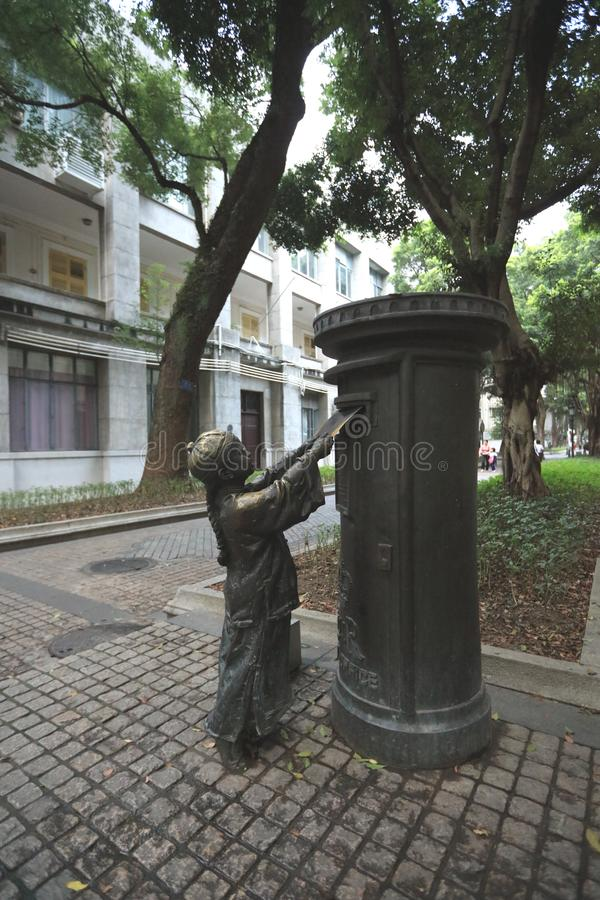 雕象在广州3 -广东-中国沙面岛  图库摄影