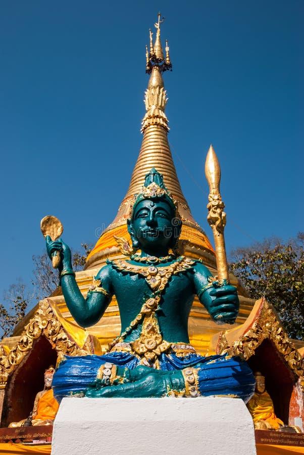 雕象在Phrathat圣Hai 免版税库存图片