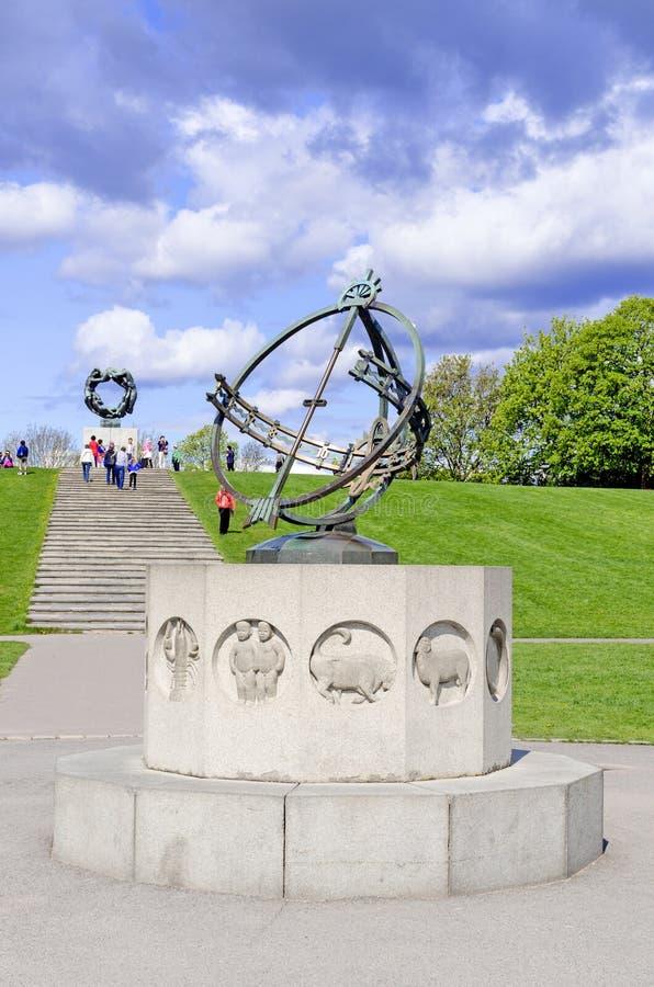 雕象在Vigeland在奥斯陆日规垂直停放 免版税库存照片