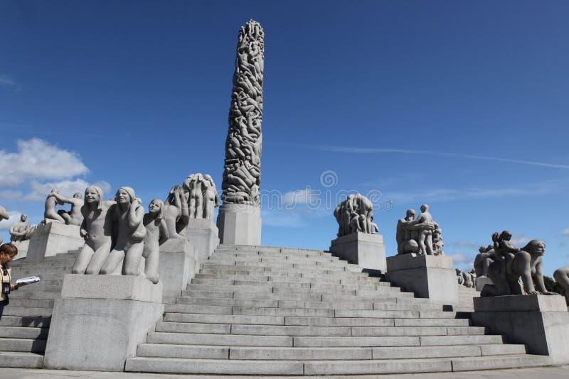 雕象在Vigeland在奥斯陆,挪威停放 库存图片