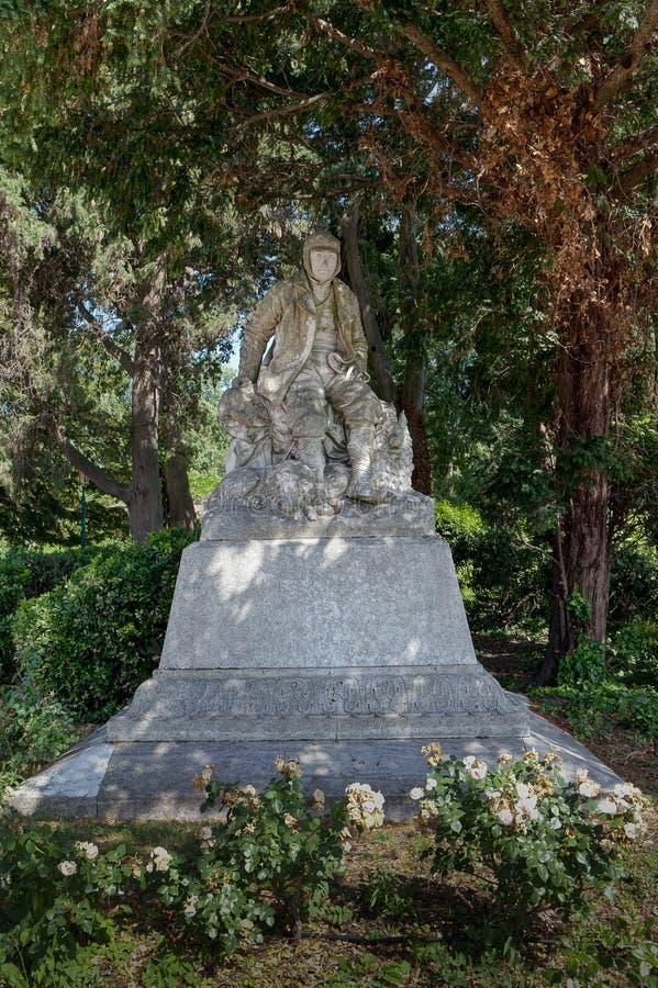 雕象探险家弗朗切斯科Querini,加尔迪尼,帝堡城,威尼斯,意大利,威尼斯湾,意大利 库存图片