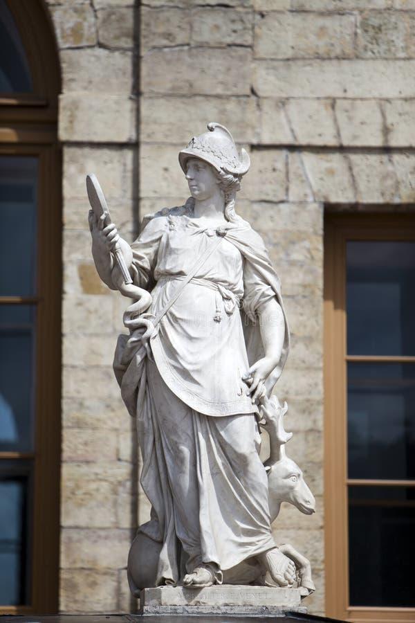 雕象智慧(正义),宫殿和公园复杂Gatchina,圣彼德堡,俄罗斯, XVIII世纪 免版税库存图片