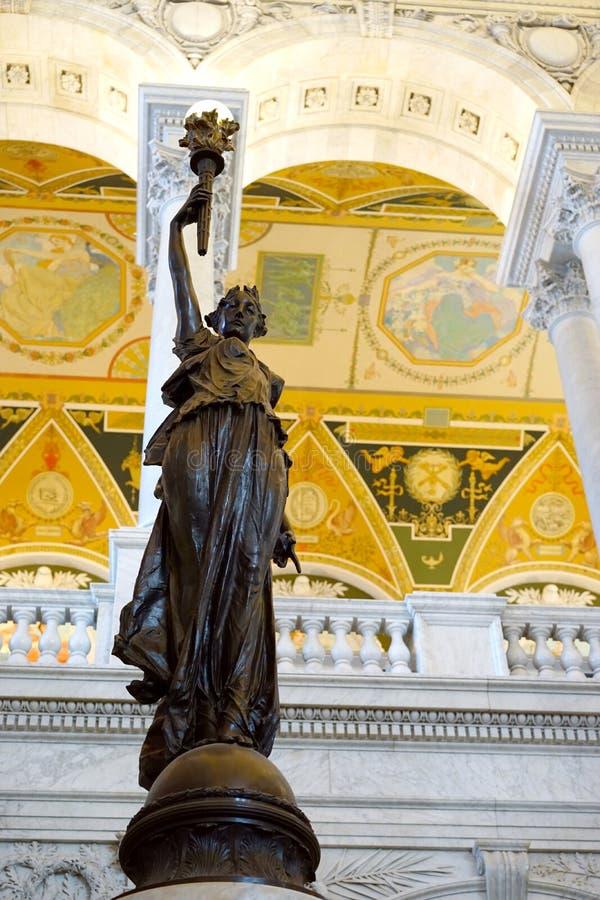 雕象的国会图书馆- 免版税库存图片