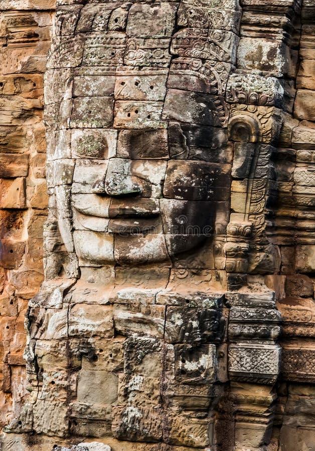 雕象纪念碑Bayon寺庙,吴哥,柬埔寨 库存图片