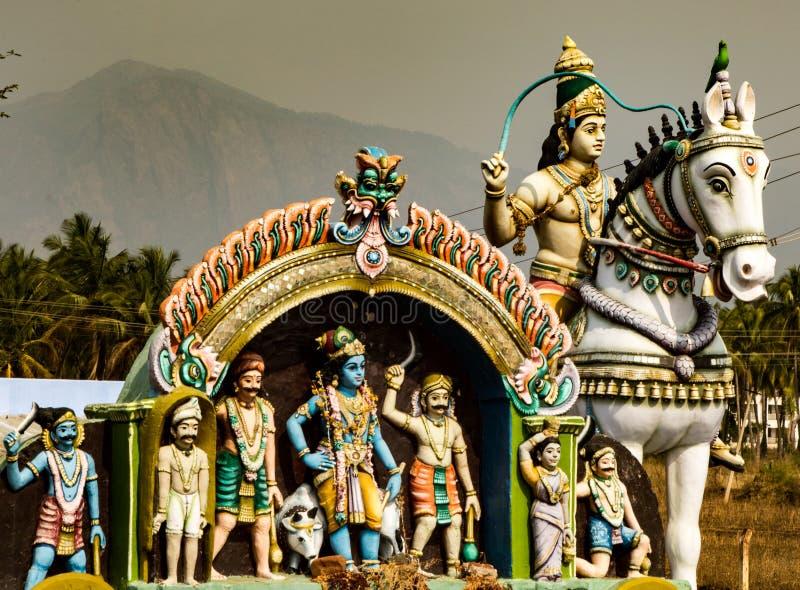 雕象细节在小印度寺庙的在印度 免版税库存图片