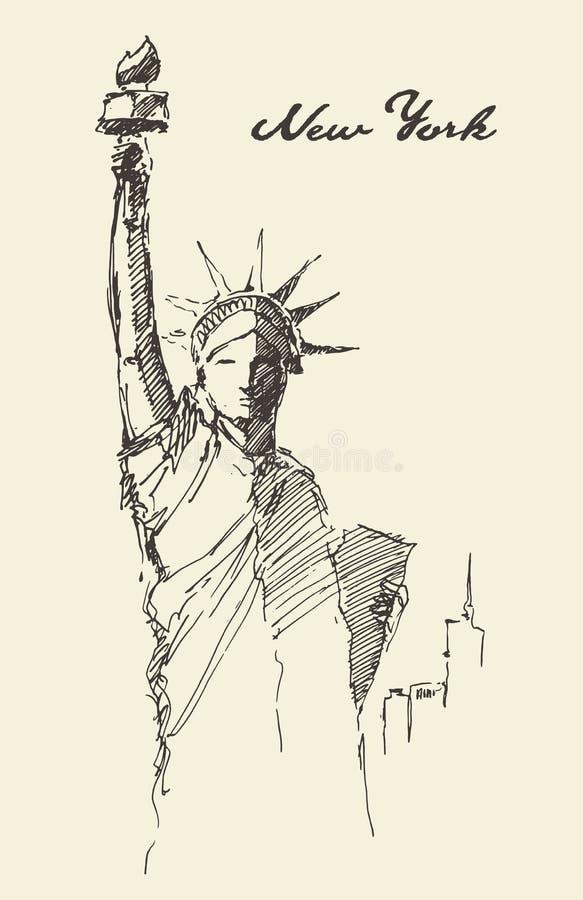 雕象自由被画的葡萄酒例证剪影 皇族释放例证