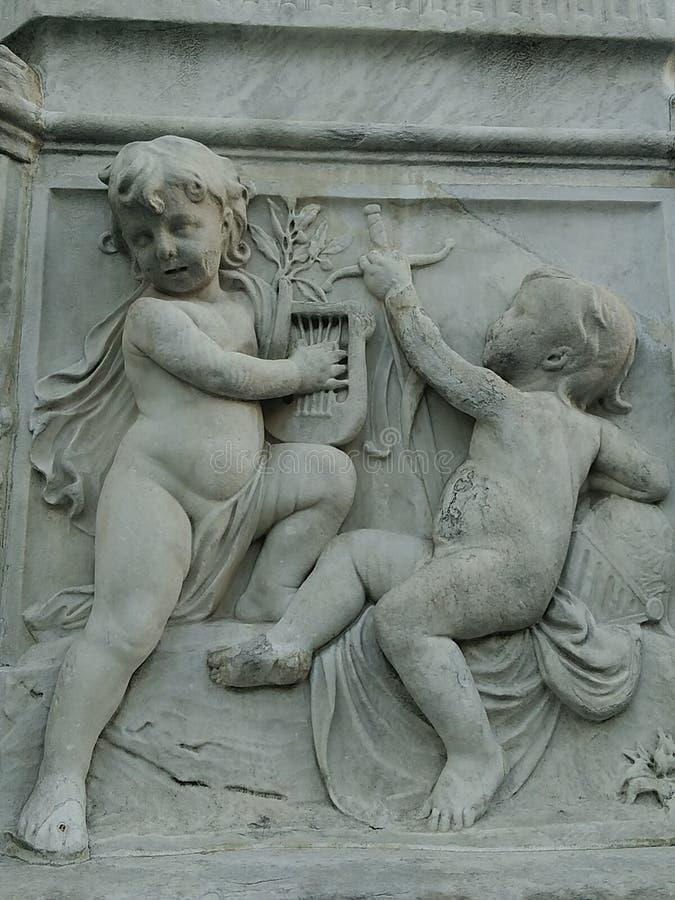 雕象马德里市 库存照片