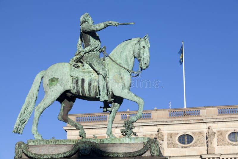 雕象Gustavus Adolphus在斯德哥尔摩-瑞典 免版税库存图片