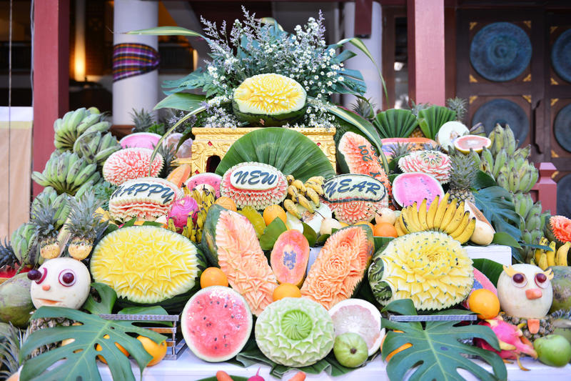 雕刻为党的果子 免版税库存图片